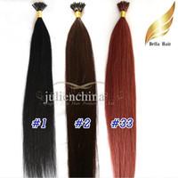 saç sapı ucu toptan satış-8A I-ucu Önceden Bağlanmış Brezilyalı İnsan Saç 1 g / strand, 100 g / takım, 20