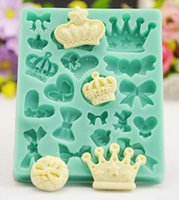 Wholesale Lace Chocolate Mold - New Arrive 3D Various Crowns&Bows Shape Silicone Mold Fondant Mold Chocolate Sugar Lace Mold