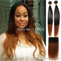 Wholesale Cheap Ombre Human Hair - Cheap Brazilian nature straight hair weave bundles 1b 30 Two Tone Ombre brown human hair weft 4pcs lot 12-28 free shipping 3,4,5pcs lot