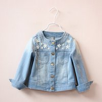 Wholesale Round Neck Denim Jacket - 2016 Autumn New Arrival Clothes For Girls Flowers Children Denim Outwear Long Sleeve Round Collar Kids Jackets 5Pcs Lot 2-6Age