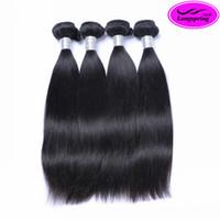 siyah örgü saç uzantıları toptan satış-Perulu Düz Saç Atkı Işlenmemiş Bakire İnsan Saç Uzantıları Doğal Siyah Boyanabilir Örgüleri Düz Saç Demetleri 4 Adet Lot