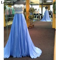 Wholesale Sequin Jeweled Prom Dress - Chiffon Multi Beaded Strapless Prom Dress A Line Full-length Layers Skirt Chic Jeweled Pageant Evening Gown Plus Sizes Dresses Lewande 11175