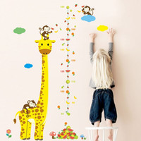 Wholesale People Monkeys - Removable Monkey Giraffe Height Chart Measurement Kids Baby Nursery Wall Stickers Home Decor Decal Decorations