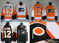 Wholesale full si - 2016 New Mens Philadelphia Flyers #12 Simon Gagne Hockey Jerseys White Black Orange,New Stitched Jerseys,Embroidery Logo,Si