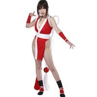 Wholesale Mai King Fighters - KOF the King of Fighters Mai Shiranui Cosplay Costume Sexy Red Kimono Costume Halloween Costumes for Women