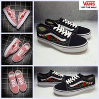 2017 Vans AMAC Customs Embroided Rose Pink High Top Shoes Mulheres Homens Preto Branco Classic Designer Casual Canvas Sk8-hi Running Sneakers 35-44