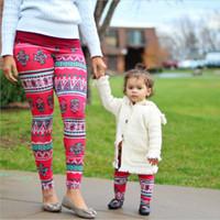 Wholesale Skull Printing Legging - 2016 mother and me christmas legging baby legging children snow man Christmas women printed fitness pants skull tight