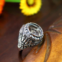 13 мм Круглый Cabochon Semi Mount Engagement Мужское кольцо Стерлинговое серебро 925 Antique Art Deco Vintage Fine Silver Semi Mount Ring Setting