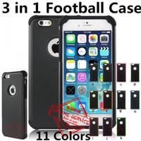 hibrid dayanıklı darbe kauçuğu toptan satış-2 in 1 Hibrid Futbol Durumda Sağlam Darbe Kauçuk Mat Darbeye Ağır Sert Kılıf Apple iPhone 6 S 6 S Artı 5 S SE 4 S 5C Dokunmatik 5 Dokunmatik 4