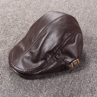 Wholesale Cow Hats - Autumn And Winter Men's Casual Handmade Genuine Leather Adjustable Flat Beret Hats High Quality Cow Leather Outdoor Peaked Cap