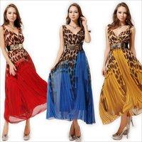Wholesale Leopard Chiffon Sexy Gown - Summer Europe sexy fashion V collar leopard Chiffon women Dress slim size large swing dresses female