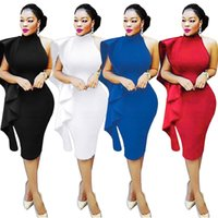 Compra Dettagli Del Club-Women One Shoulder Ruffles Dettagli Dress Club Elegante Halter Backless Butterfly Midi Bodycon Vestiti Vestido De Noite