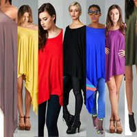 Wholesale Crew Neck Bat Sleeves - 2016 Fashion Women Batwing Bat Sleeve Loose OverSize Long T-Shirt Irregular Tops Casual Blouses Shirts Plus Size XXL KF8100