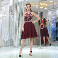 Wholesale Short Chiffon Beaded Cocktail Dress - Burgundy Red Chiffon Short Prom Dresses Sequins Beaded Halter Sexy Homecoming Dresses Short Cocktail Gowns New Arrival
