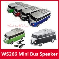 Wholesale Bus Player - Bus Car Shape Speaker WS-266 Mini Portable Car Speakers Subwoofers Deep Bass Support TF Card USB MP3 Player ws266 Christmas Toy Speakers