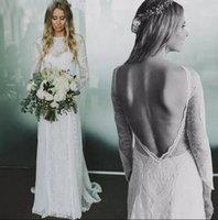 Wholesale Elegant Bridal Dress Wedding Wear - Simple Elegant Bohemian Full Lace A Line Wedding Dresses 2018 Sexy Backless Sheer Long Sleeves Bridal Gowns Cheap Summer Beach Wedding Wear
