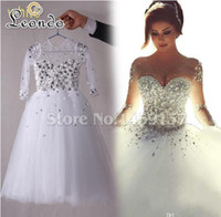 Wholesale Dress First Comunion - Arabic White First Communion Dresses Vestidos De Comunion 2016 Ball Gown Beading Crystal Long Sleeve Flower Girl's Dress Pageant Gowns