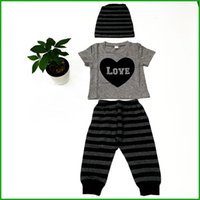 Wholesale Cheap Tutu Tops - love letters printed boys clothing suits gray short sleeve heart tops stripes long pants kids children clothes set with hat cheap price