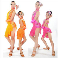 Wholesale Kids Tango Dresses - Child Latin Dance Dresses For Sale 6 Colors Cha Cha Rumba Samba Ballroom Tango Dance Clothing Kids Dance Costume Girls Dancewear