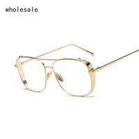 Wholesale Punk Eyeglasses - Square Gold Clear Eyeglasses Frames Men Glasses Women Transparent Optical eyeglasses Oversized Punk Eyewear Frame OK017