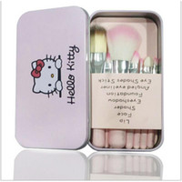 Wholesale Mini Nylon Brush - Hello Kitty 7 Pcs Mini Makeup Brush Set Pink Black Cosmetics Kit Make Up Brushes Kit with Metal Box Nylon + Wooden Foundation Brushes Set