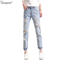 Wholesale Wash Design Denim Pant - Wholesale- TANGNEST Casual Boyfriend Ripped Jeans 2017 Woman Fashion Brand Design Holes Denim Pants Ankle Length Loose Jean Plus SizeWKN424