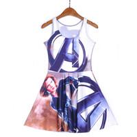 Wholesale Dc Dress - NEW 1226 Sexy Girl Women Summer DC Comic The Avengers Black Widow 3D Prints Reversible Sleeveless Skater Pleated Dress Plus size