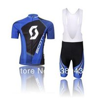 Wholesale F Gel - summer road bike Cycling Jersey short sleeve bib pants pants Quick Dry Breathable GEL PAD SCOT team Blue F-69 Cycling Clothing Size XS-4XL