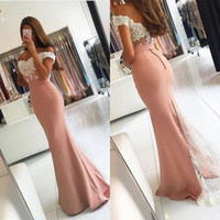 Wholesale China Black Trumpet - Sexy 2016 Off Shoulder Backless Prom Dresses Popular Ivory Lace Blush Pink Stain Mermaid Party Gowns Custom Made China EN9246