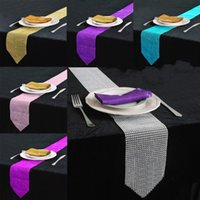 Wholesale diamond rhinestone table runners resale online - 12 X cm Elegant diamond Crystal Rhinestone sparkling Table Runner For Wedding Party Banquet Table Centerpieces Decoration Supplies colo