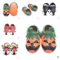 Wholesale First Foxes - Unisex Shoes Halloween Kids Fox Toddlers Baby Moccasin Soft Leather Crib Pumpkin Prewalker Shoe First Walkers Christmas Gifts Free Shipping