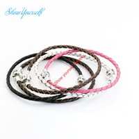 Wholesale 14k Gold Lobster Clasp - Fashion Antique Silver Plated Genuine Leather Bracelet FIT European Bracelet Jewelry Making DIY19cm