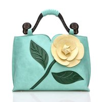 Wholesale Stereoscopic Bag - Fashion Women 3D Stereoscopic Rose Flower Handbag High-end PU Leather Shoulder Handbag Bag Tote Women Messenger Bag 7 Colors
