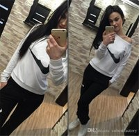 Wholesale Lady Brand Cotton Sweatshirts - 2016 New Autumn Womens Fleece Hoodies Sweatshirts and Long Pants Fashion Brand Ladies Tracksuits Slim Sexy Black Sweatshirt White Blue 8911#