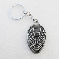 12pcs / lot Fashion Spiderman Mask Keyring Jewelry Alloy Key Chain Holders Chaveiro Llavero Men Gift