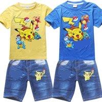 Wholesale Unisex Denim Shirt - Poke go Pikachu Boys girl stripe denim suit children Jeni turtle Sylveon Poke Ball Short sleeve T-shirt +shorts 2 pcs sets Suits B001