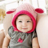 Wholesale Elf Newborn Hat Baby - caps Children's autumn and winter hat knitted hat hedging boy and girl baby ear cotton handmade elf hat beanies headwear cap