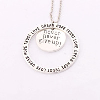 Wholesale dream pendant - Antique Silver Never Nerver Give Up Love Dream Hope Trust Pendant Necklaces 24 inches Chains N1677 8