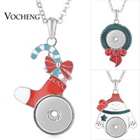Wholesale Chain Snowman - NOOSA Christmas Gift Necklace Ginger Snap Jewelry 18mm 6 Styles Tree Snowman Socks Painted Design with Stainless Steel Chain VOCHENG NN-540