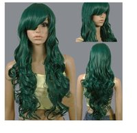 New Womens Long Seamless Cosplay Party Darrk Green Hair Sintético Full Wigs