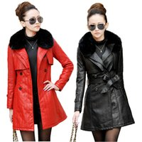 Wholesale Leather Jackets Mink Collar - Wholesale-2016 Autumn Winter Women Leather Jacket Waistband PU Leather Coat Real Mink Fur Collar Women Long Faux Leather Jacket M-3XL
