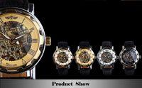 Wholesale Steampunk Transparent Skeleton - Golden Men Skeleton Mechanical Watch Stainless Steel Steel Hand Wind Watches Transparent Steampunk Montre Homme Wristwatch