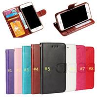 iphone 5s stehen fall großhandel-Hohe Qualität Luxus Vintage Flip PU Ledertasche Brieftasche Ständer Kartensteckplatz Abdeckung Geld Tasche Bilderrahmen Tasche für iPhone 7 + 6 s 6 plus 5 s SE