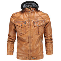 ingrosso uomini di giacca con cappuccio in pelle di pecora-Moda Vintage Mens Leather Jacket Artigianato Abbigliamento classico di pelle di pecora Plus Cashmere caldo spessore giacche con cappuccio per gli uomini XXXL