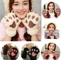 Wholesale Animal Mittens - Winter Women Half Finger Gloves Cute Cat Claw Paw Plush Mittens Short Fingerless Cat Plush Paw Fluffy Bear Claw Glove Plush Mittens KKA2718
