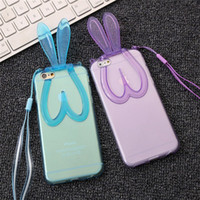 Wholesale Iphone Case Cover Bunny - For iphone 6s 3D Bunny Rabbit Ears Stand Transparent Soft TPU Case With Bracket Holder Stand colorful Back Cover for iphone 5s 6plus