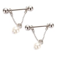 Wholesale Nipple Pearl - 14G 2pcs lot Nipple Ring Simulated Pearl Nipple Piercing Bars 316L Surgical Steel Body Piercing Jewelry Dangle Piercing for women