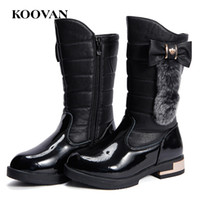 Wholesale Kids Snow Boots Size 11 - High Boots Kids Snow Boots Koovan Autumn Winter 2017 Girl Shoes Big Kids Soft Inside Big Size 26-40 Four Color Free Ship K055
