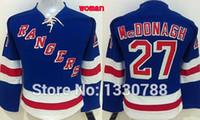 Wholesale Womens Royal Blue Shirts - 2015 Cheap New York Rangers Jersey Womens #27 Ryan Mcdonagh Captain Home Royal Blue Premier Stitched Ice Hockey Jerseys Shirts