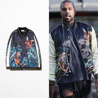 Wholesale Thick Black Cardigan - 2017 new brand kanye west HBA hip hop Europe and the United States street Bamboo tiger baseball uniform coat sweater cardigan thick jackets